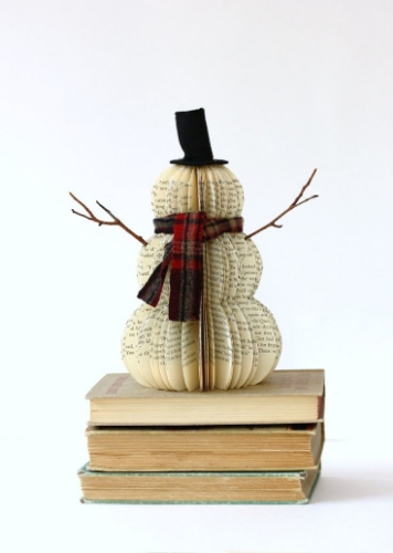 upcycled snowman christmas decoration book long enough