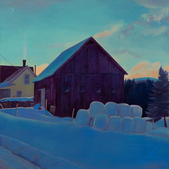 """Hill Farm, December Evening"", 30"" x 30"", oil on linen panel"