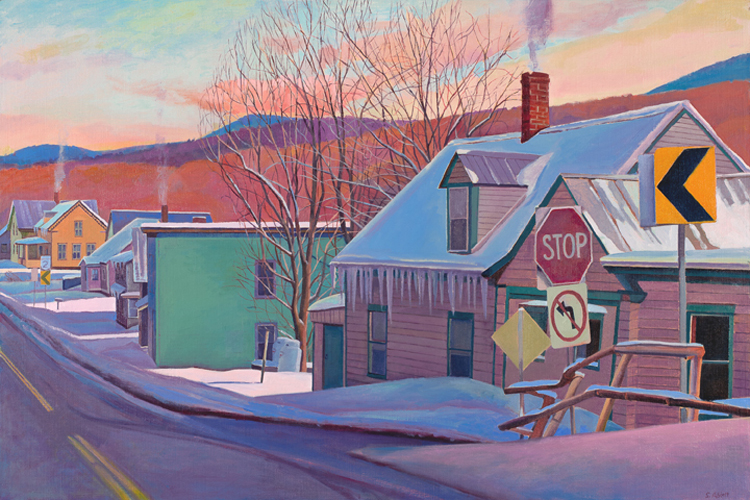 """Road through the Village, Winter"", 24"" x 36"", oil on linen panel"