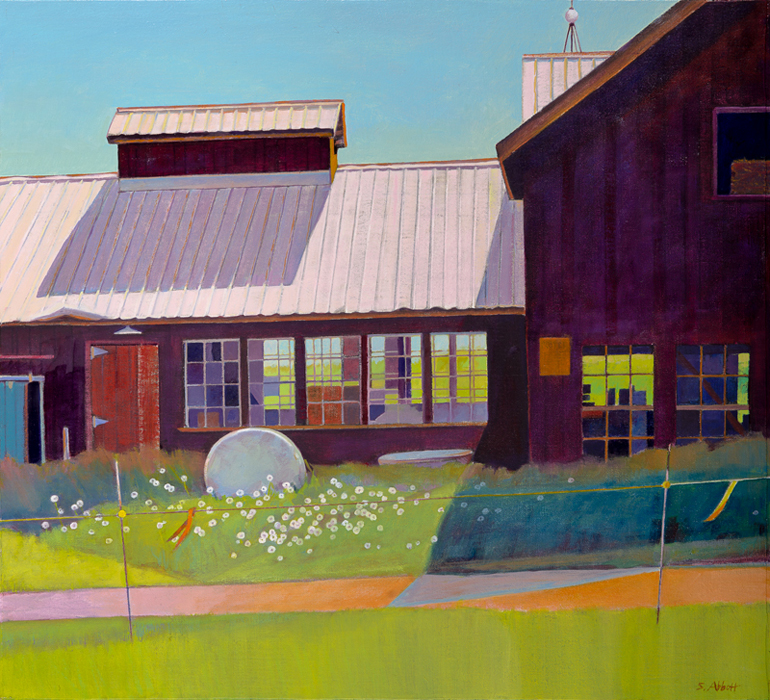 """Sugar House and Hay Bale"", 20"" x 22"", oil on linen panel"