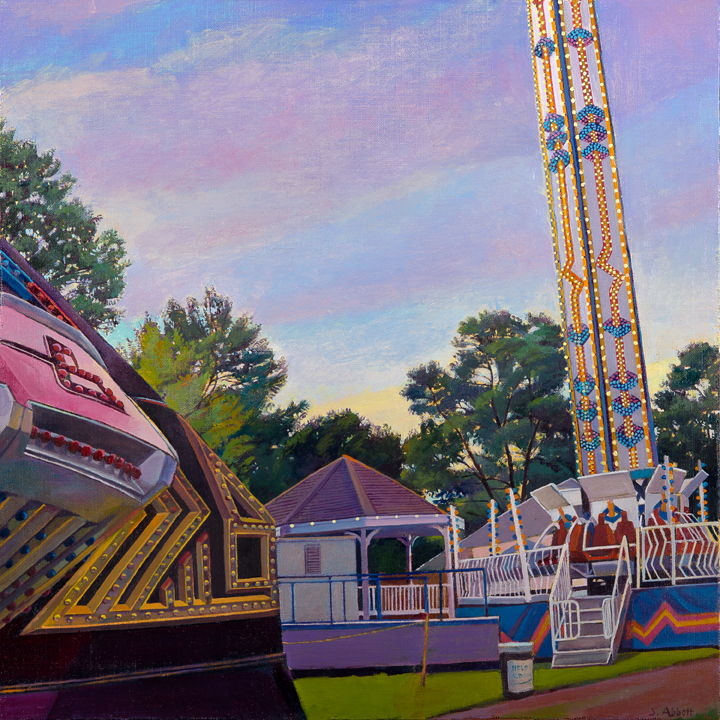 """Town Fair, Midway"", 16"" x 16"", oil on linen panel"