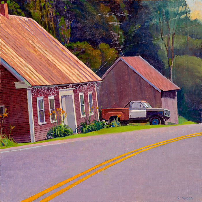 """House by the Road"", 12"" x 12"", oil on linen panel"