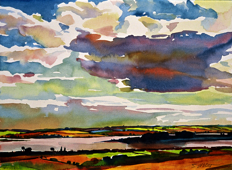 """Big Cloud, Prince Edward Island"", 14"" x 16"", watercolor"