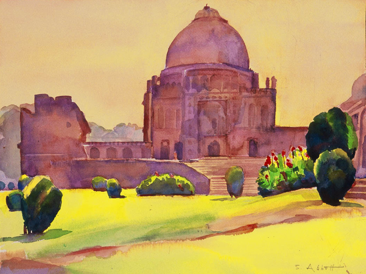 """Lodhi Park, Delhi"", 12"" x 15"", watercolor"