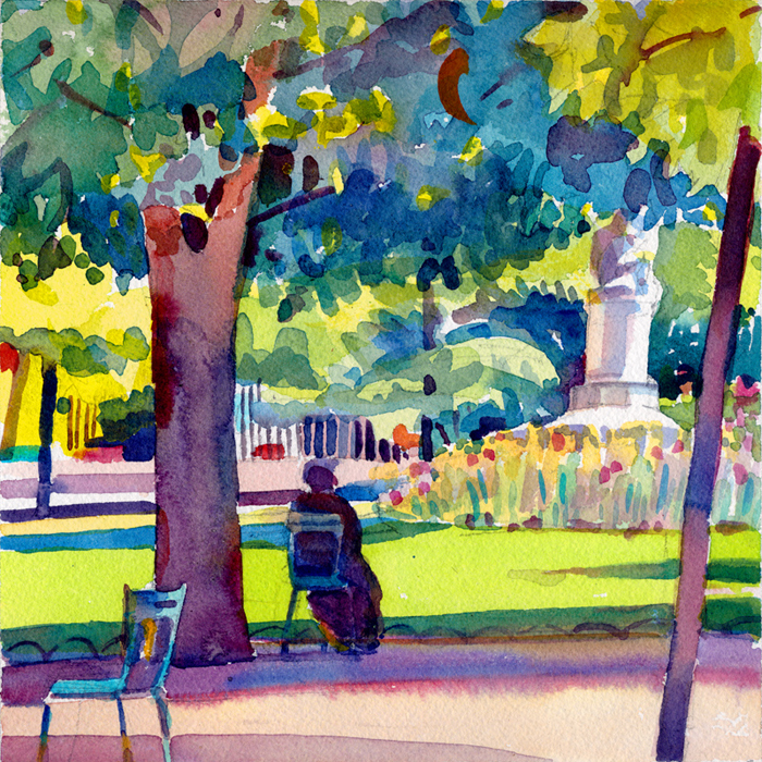 """Luxembourg Garden, Sun and Shade"", 8"" x 8"", watercolor"