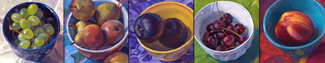 """""""Five Bowls in Provence"""", 5"""" x 25"""", oil on linen panel"""