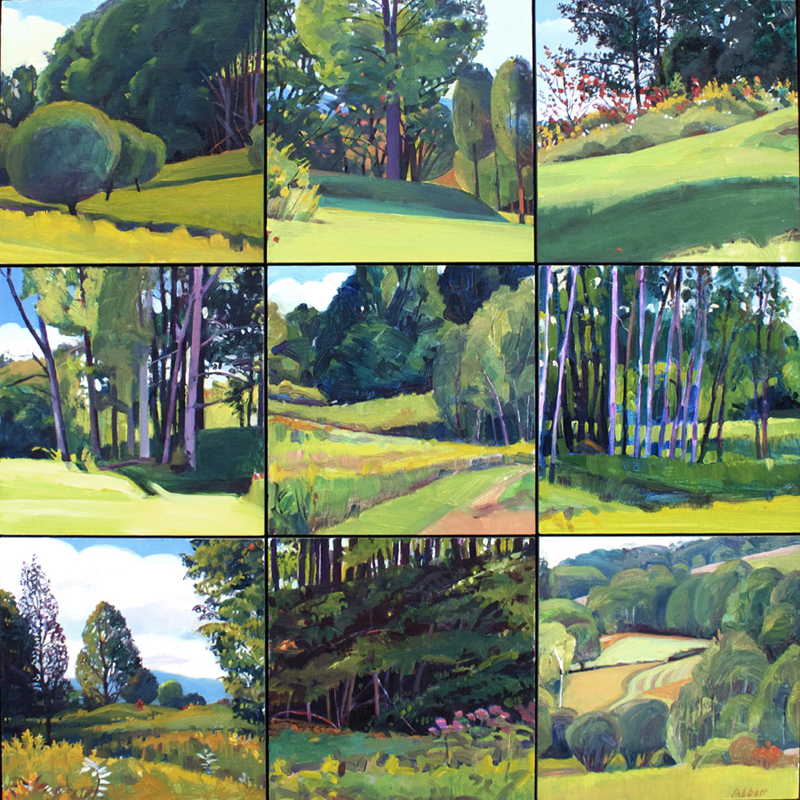 """""""From the Hill, Summer"""", 18"""" x 18"""" (9 panels), oil on linen panel"""