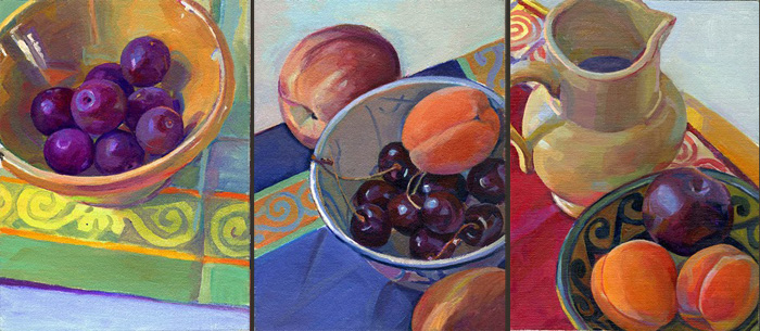 """""""Three Days in Provence"""", 8"""" x 18"""" (triptych), oil on linen panel"""