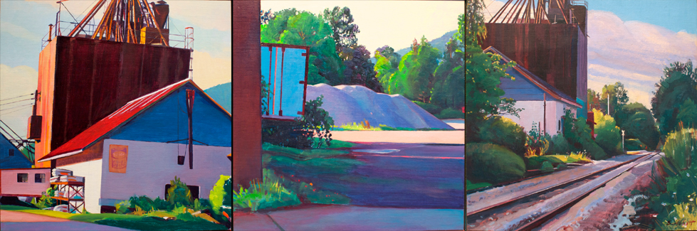 """""""Mount Tabor, Late Afternoon"""", 10"""" x 30"""" (triptych), oil on linen panel"""