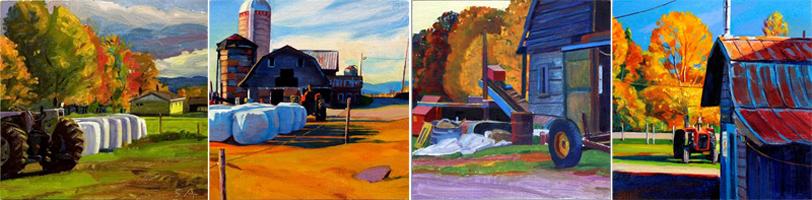 """""""Newton's Farm, Autumn"""", 5"""" x 20"""" (4 panels), oil on linen panel"""