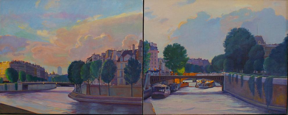 """The Seine at Twilight"", 16"" x 32"" (diptych), oil on linen panel"