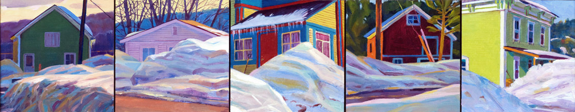"""Five Homes in Winter"", 5"" x 20"" (4 panels), oil on linen panel"