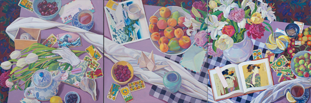 """""""From Spring to Summer"""", 24"""" x 72"""" (triptych), oil on linen panel"""