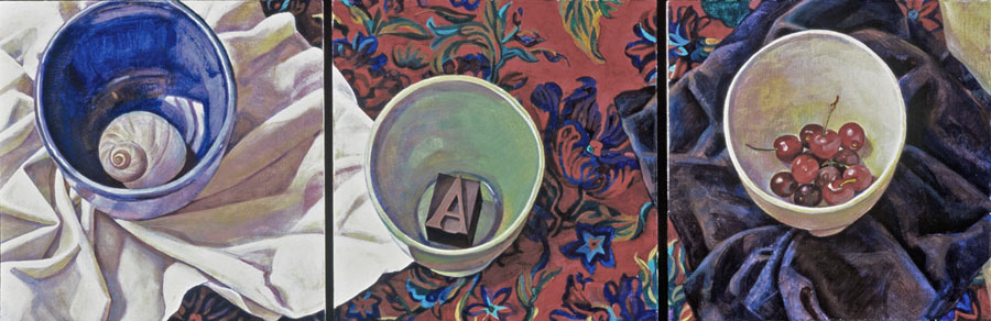 """""""Three Bowls"""", 12"""" x 36"""" (triptych), oil on linen panel"""