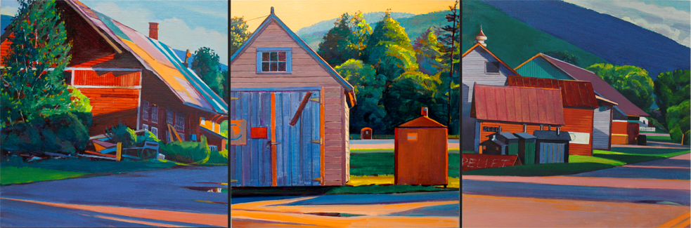 """""""Mount Tabor, Early Morning"""", 10"""" x 30"""" (triptych), oil on linen panel"""