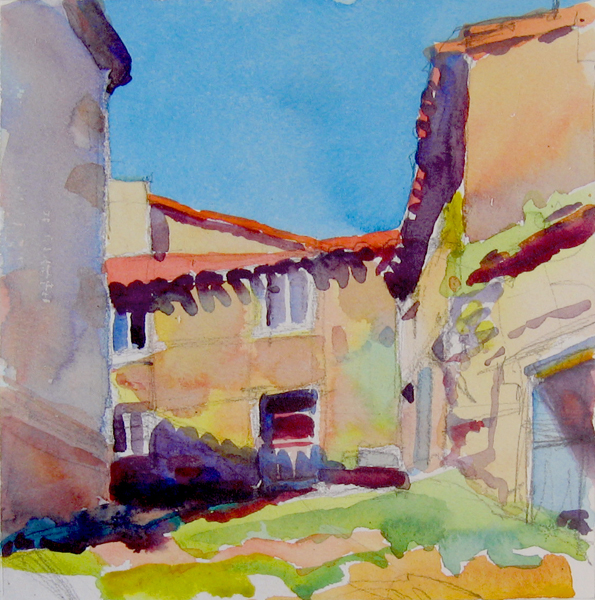 """House along the Camino, Spain"", 8"" x 8"", watercolor"