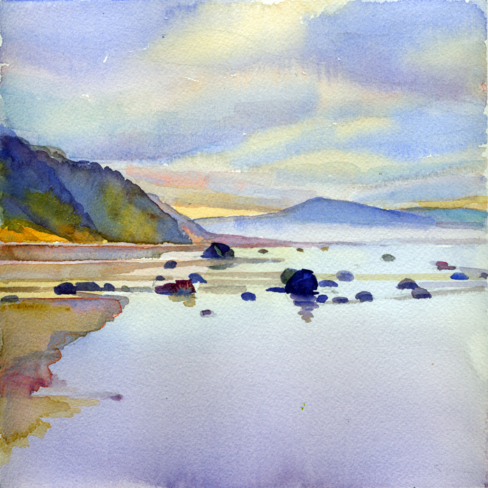 """Low Tide, Oregon"", 8"" x 8"", watercolor"