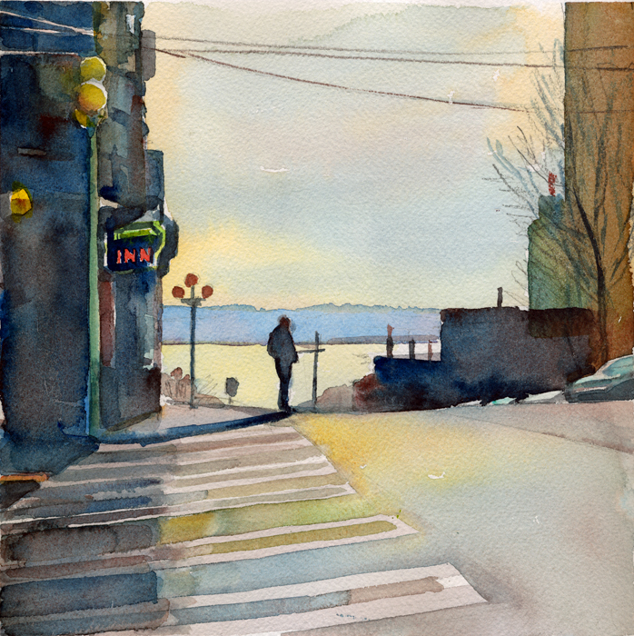"""Street Corner, Morning, Seattle"", 8"" x 8"", watercolor"