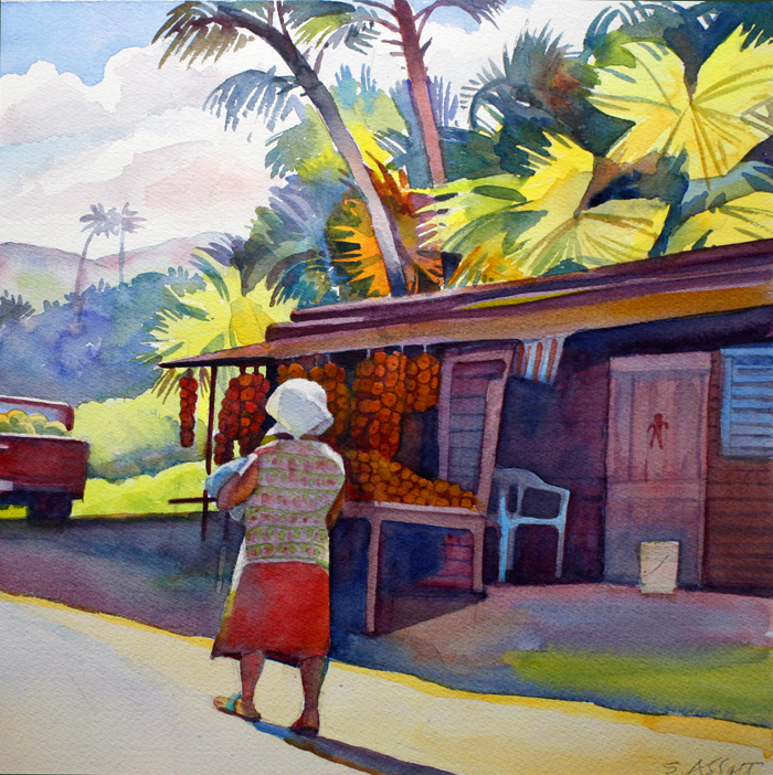 """Tangerine Stall, Dominican Republic"", 10"" x 10"", watercolor"