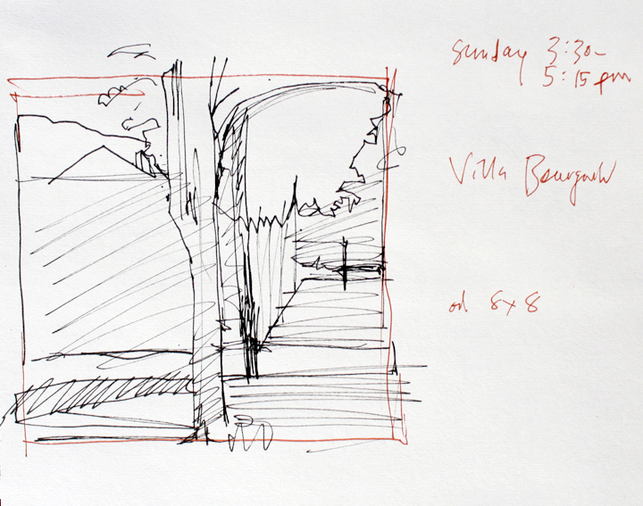 "Black and sanguine pens in 9"" x 12"" Cachet sketchbook"