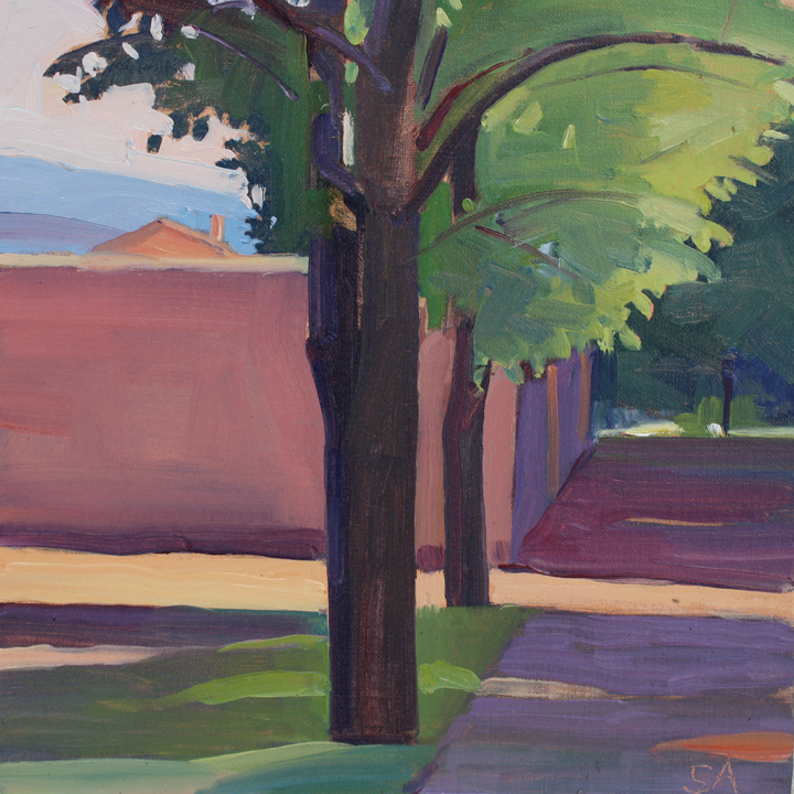 """""""Wall and Trees, Provence"""", 8"""" x 8"""", oil on linen panel"""