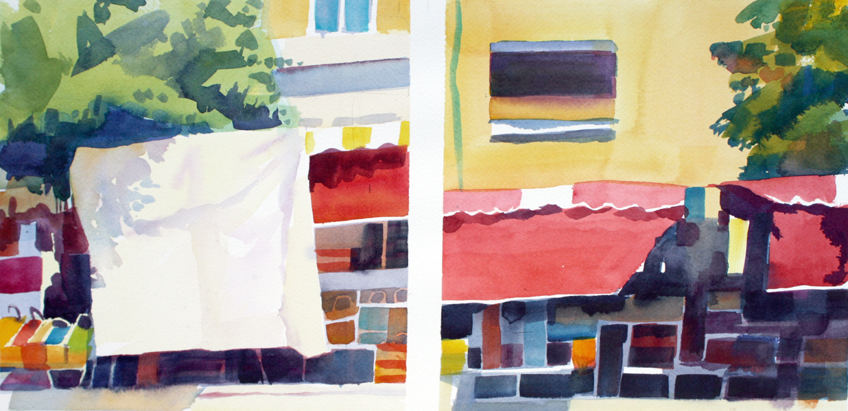"""Watercolor on Arches paper, 9"""" x 18"""" (diptych)"""