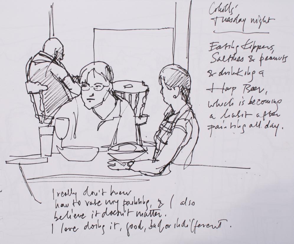 "9"" x 12"", black and sanguine pens in Cachet sketchbook"