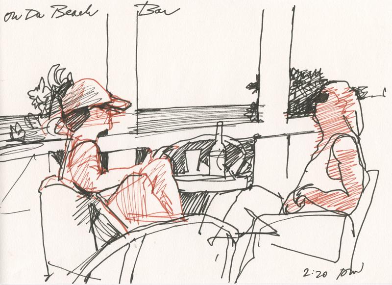 "Black and sepia Pitt pens in 5"" x 7"" sketchbook"