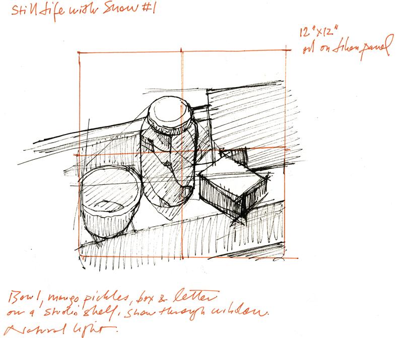 "Black and sepia Pitt pens in 9"" x 11"" Cachet sketchbook"