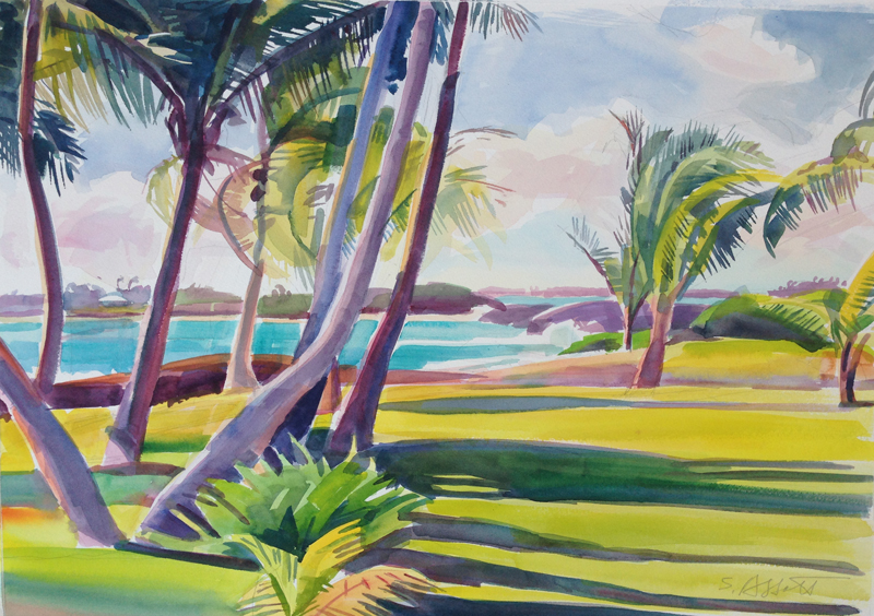 """Palms and Sea, Elbow Cay"", 14"" x 20"", watercolor"