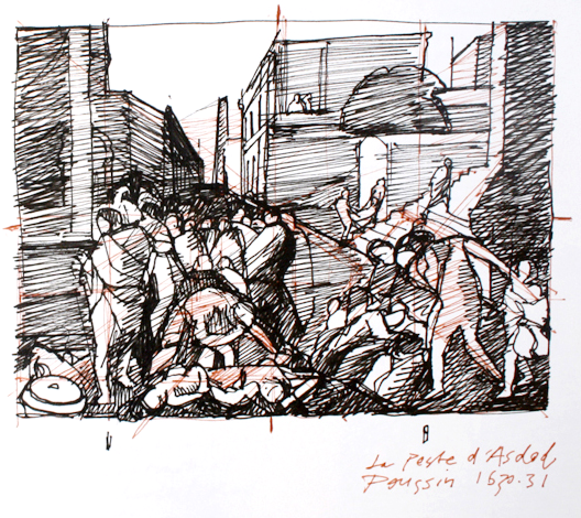 """Study of Poussin's """"Plague of Ashdod"""", 8"""" x 10"""", Faber Castell pens in sketchbook"""