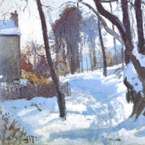 """Camille Pissarro, """"Louveciennes"""" (detail), 1872"""