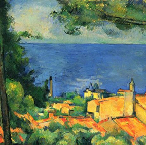 """Cezanne, """"The Gulf of Marseilles"""" (detail), 1885"""