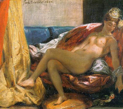 """Delacroix, """"Woman with a Parrot"""" (detail), 1827"""