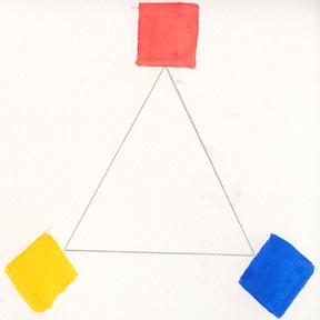 Cadmium Red, Ultramarine Blue, Cadmium Yellow Pale