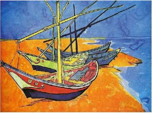 "Van Gogh, ""Boats on the Beach of Saintes-Maries"", 1888"