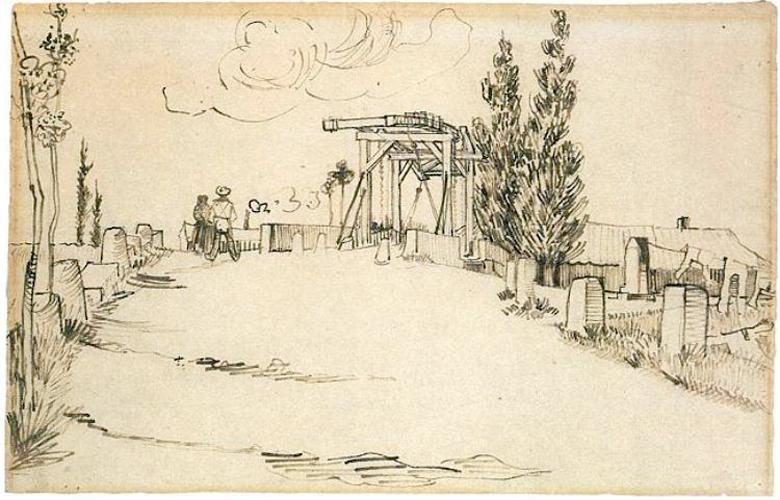 "Van Gogh, ""The Langois Bridge at Arles"", reed pen and ink, 1888"