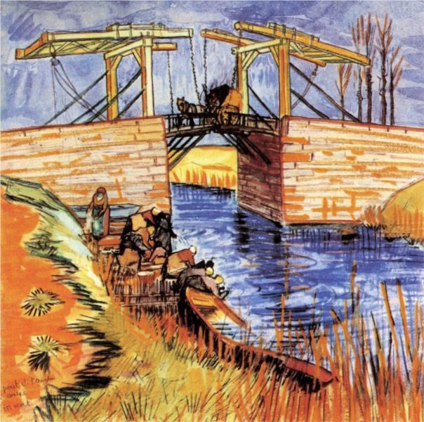 """Van Gogh, """"The Langois Bridge at Arles"""", watercolor, 1888"""