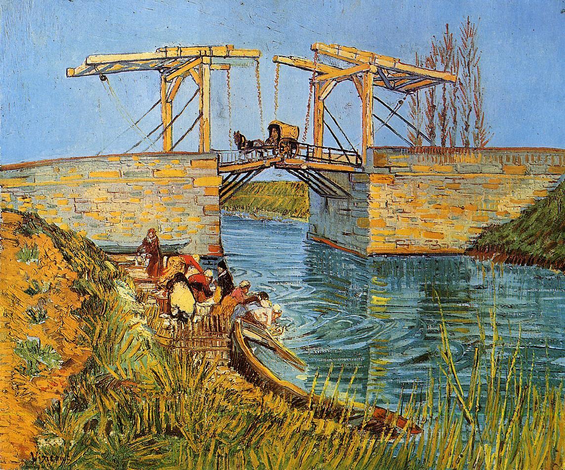 "Van Gogh, ""The Langois Bridge at Arles with Women Washing"", oil, 1888"