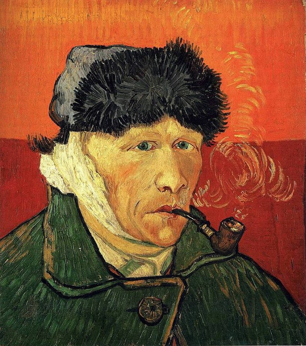"""Van Gogh, """"Self Portrait with Bandaged Ear and Pipe"""", 1889"""
