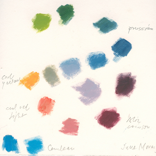 Oil swatches mixed with Cadmium Yellow, Perm. Alizarin Crimson, Prussian Blue, and Cerulean Blue.