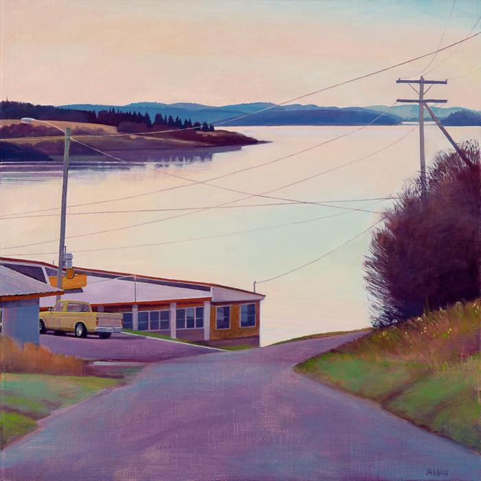 """Susan Abbott, """"Sunday Morning Coffee"""", 24"""" x 24"""", oil on linen panel"""