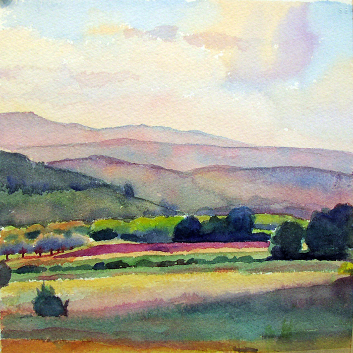"Susan Abbott, ""Fields at Dusk, Provence"", watercolor"