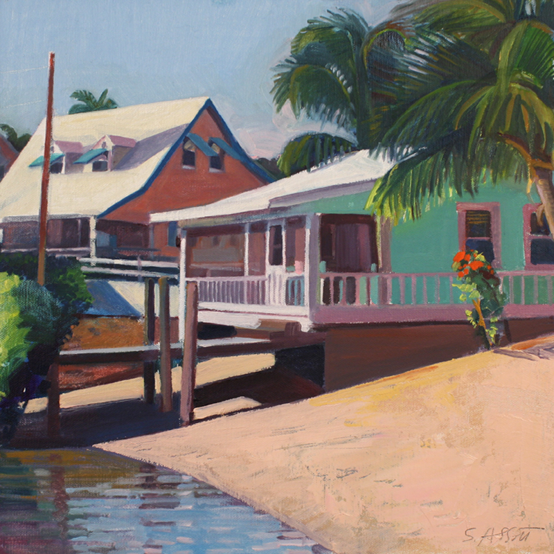"Abbott, ""High Noon, Dockside"", oil"