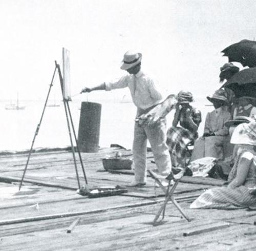 Charles Hawthorne demonstrating at his easel