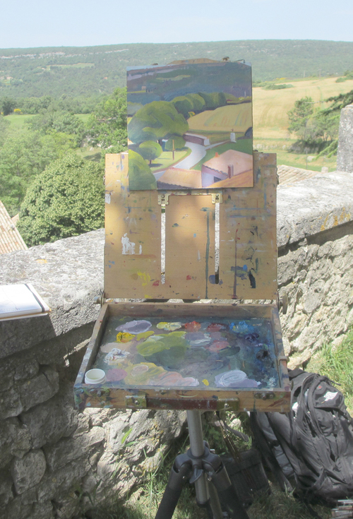 My Artwork Essentials pochade box and back pack that holds tripod, paint, brushes and solvent.