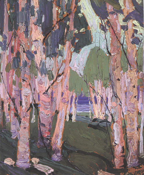 """""""Pink Birches"""", 10"""" x 8"""", oil on wood panel"""