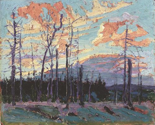 """Burnt Land at Sunset"", 8"" x 10"", oil on wood panel"