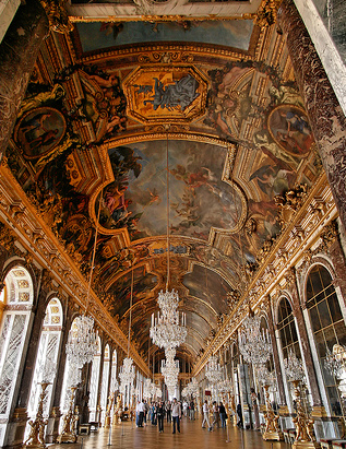 Hall of Mirrors, Versailles, decorations by Charles Le Brun