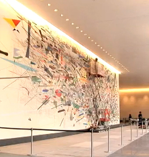 Julie Mehretu, commission for Goldman Sachs, 23' x 80'